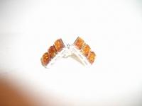 Серьги. Три камня. Цвет натуральный - Янтарь , Изделия из серебра