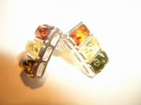 Серьги. Три камня. Цвет натуральный, желтый, зеленый - Янтарь , Изделия из серебра