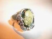 Ring. Amber. Color green - Amber , Silverware