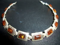 Amber Bracelet. 12 Stones. Natural color - Amber , Silverware