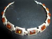 Браслет. 12 Камней. Цвет натуральный - Янтарь , Изделия из серебра