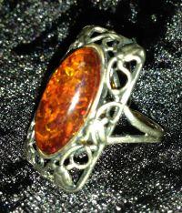 Кольцо под старину. Перстень, цвет камня натуральный - Серебро , Янтарь