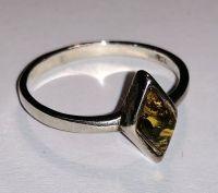 Кольцо. Янтарь. Натурально-зеленый камень ромбовидной формы. - Янтарь , Изделия из серебра