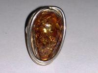Кольцо с янтарем. Цвет камня - натуральный - Янтарь , Изделия из серебра