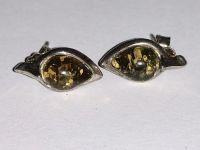 Серьги с янтарем. Камень зеленого цвета - Янтарь , Изделия из серебра