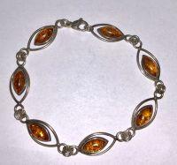 Браслет с янтарем. 7 камней натурального цвета - Янтарь , Изделия из серебра