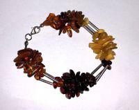Браслет с янтарем. Камни натурального, желтого и красного цвета - Янтарь , Изделия из серебра