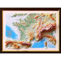Maps France. High raised relief panorama (3D map/Medium)