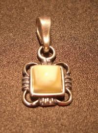 White Amber Pendant. Square shape - Amber , Silverware