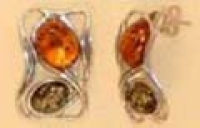 Earrings - Amber , Silverware