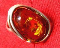 Кольцо - Янтарь ажурная оправа. Цвет камня натуральный. - Серебро , Янтарь