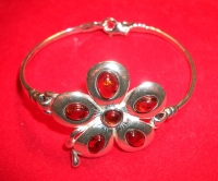 Bracelet. Fiery flower. Amber. Natural Color - Amber , Silverware
