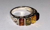 Кольцо. Четыре камня. Янтарь. Цвет натуральный, зеленый, желтый, красный - Янтарь , Изделия из серебра