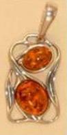 Подвеска. Форма прямоугольная. Два камня - Янтарь , Изделия из серебра