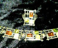 Комплект Сетка. Браслет и кольцо - Янтарь Белый, Зеленый, Натуральный - Серебро , Янтарь