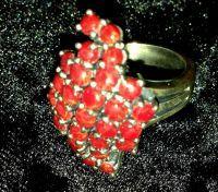 Кольцо. Красный коралл. - Серебро , Коралл