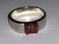 Кольцо с янтарным камнем. Камень натурального цвета - Янтарь , Изделия из серебра