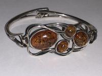 Браслет. Янтарь. 4 камня натурального цвета - Янтарь , Изделия из серебра