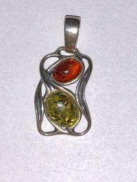 Подвеска. Янтарь. 2 камня. Натуральный и зеленый цвет - Янтарь , Изделия из серебра
