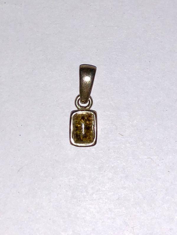 Серебро Подвеска с янтарем. Камень желто-зеленого цвета - Янтарь , Изделия из серебра
