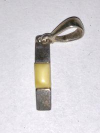 Подвеска с желтым янтарем - Янтарь , Изделия из серебра