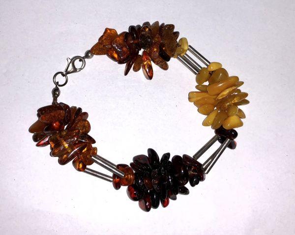 Серебро Браслет с янтарем. Камни натурального, желтого и красного цвета - Янтарь , Изделия из серебра