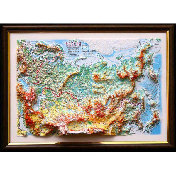 Карты Россия. Высокообъемная панорама RUSSIA (3D map/Medium)