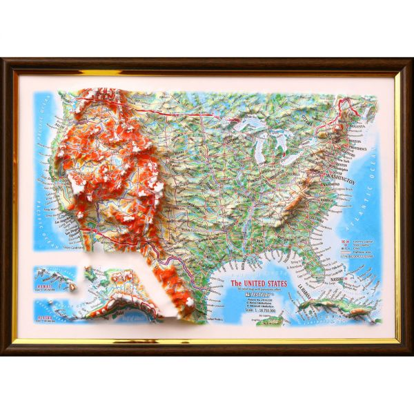 Карты США. Высокообъемная панорама USA (3D map/Medium)