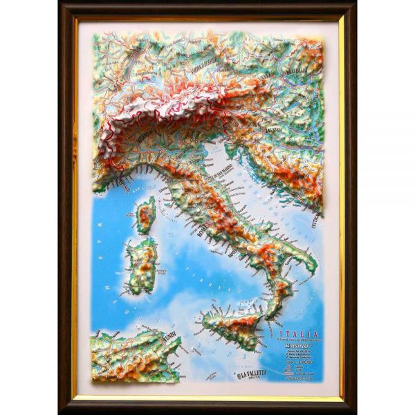 Maps Italy. High raised relief panorama (3D map/Medium)