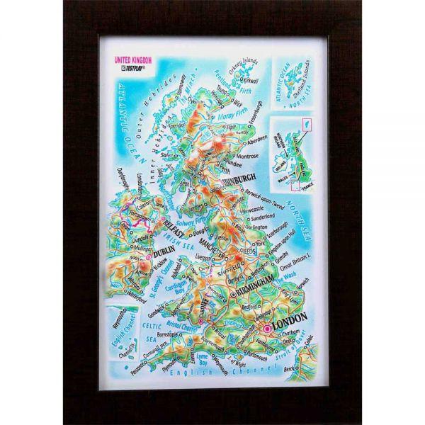 Maps United Kingdom. High raised relief panorama (3D map/Mini)