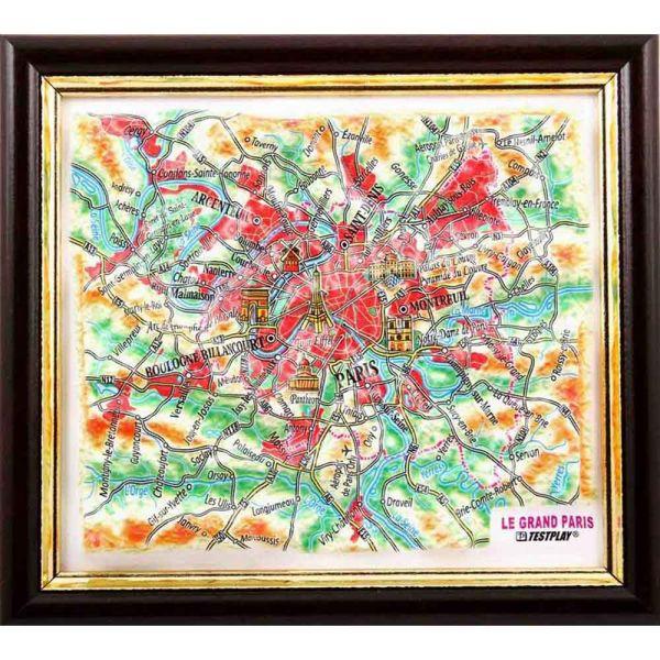 Landkarten Paris. 3D Reliefpanorama, Landkarte (3D map/Mini)